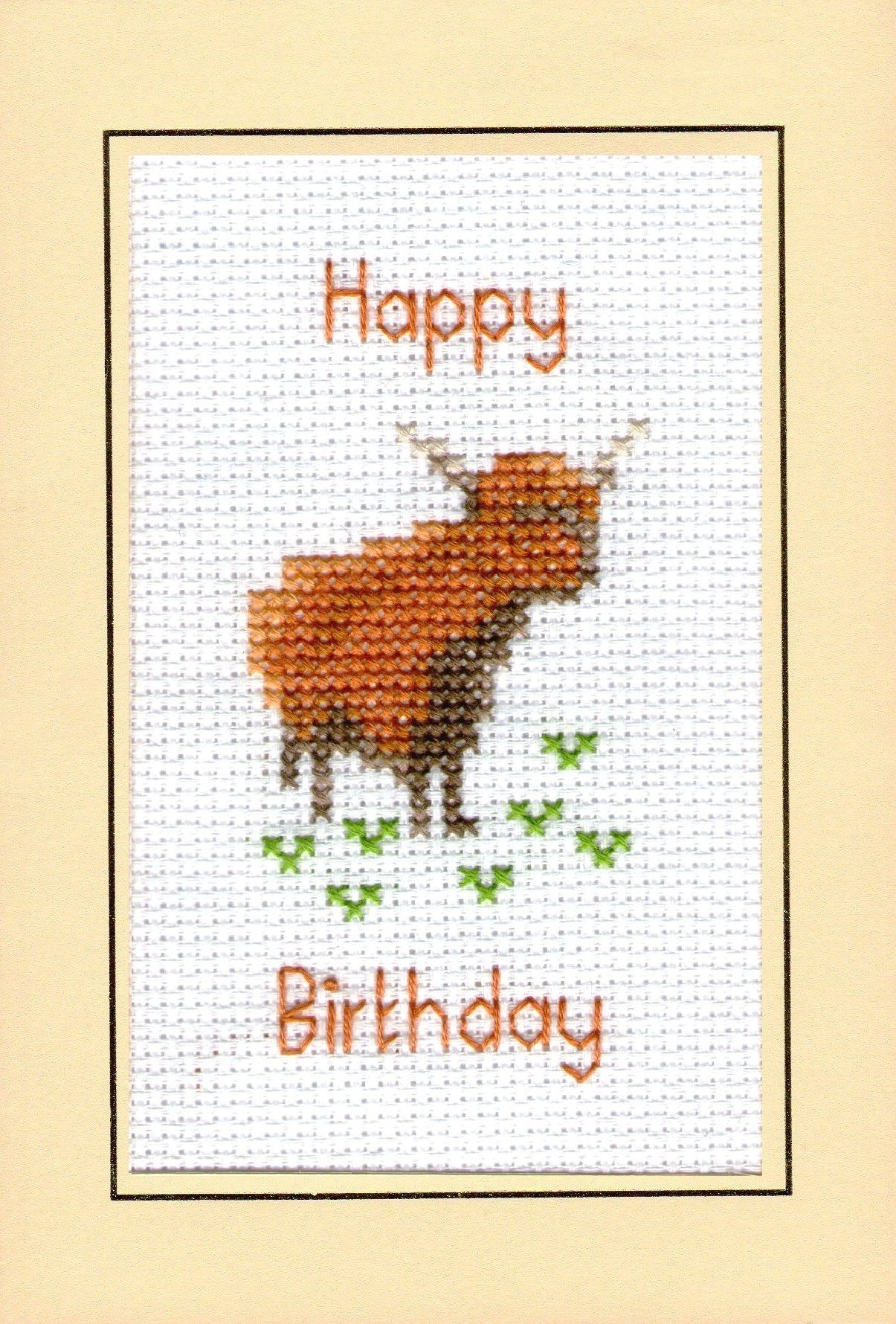 Highland Cow Plain Birthday A6 Greeting Card 14 Count Cross Stitch Kit